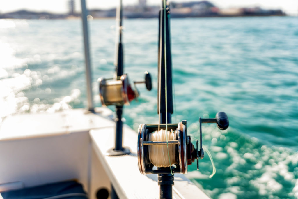 Ocean Fishing Reels on a Boat in the Ocean Ready to Catch Large Ocean Fish